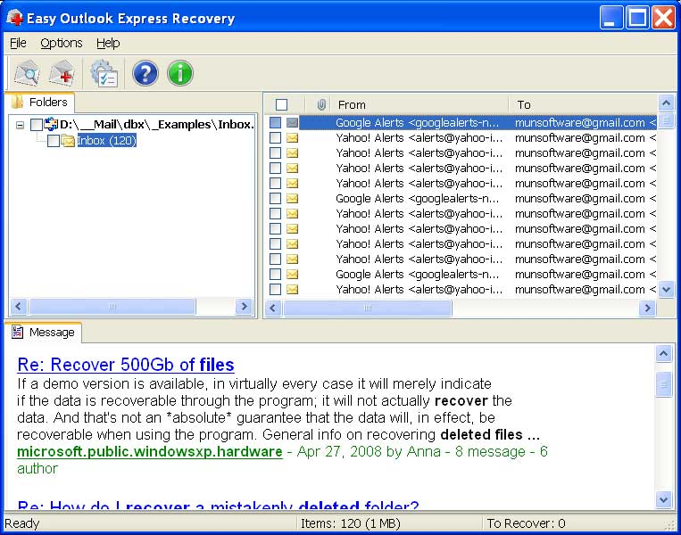 Click to view Easy Outlook Express Recovery screenshots
